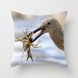 Watercolor Bird Sandpiper Eating Rusty Crayfish 02, Hearty Snack Throw Pillow