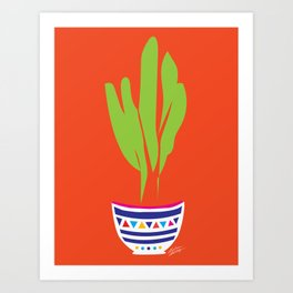 Cactus Mexico Bright Simple Contemporary Pottery Art Print