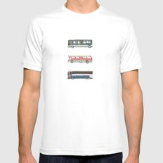 Buses MEDIUM White Mens Fitted Tee
