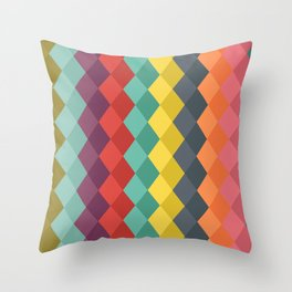Rombs retro color Throw Pillow