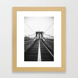 Brooklyn Bridge Black and White Framed Art Print