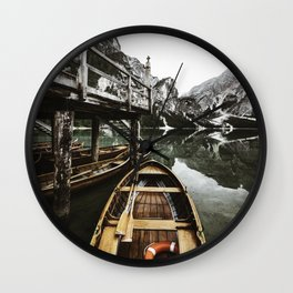 braies lake Wall Clock