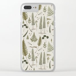 fern pattern white Clear iPhone Case