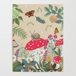 Toadstools in the Woods Poster