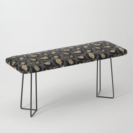 Black Gold Leopard Print Pattern Bench