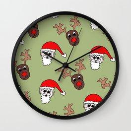 Santa and Rudolf Christmas Print Wall Clock