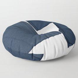 Minimalist Painting Blue III, Mid Century Modern Floor Pillow