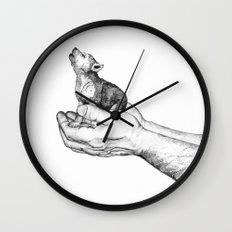 Wolf Cub // Graphite Wall Clock