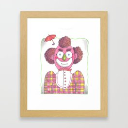 Clown with Umbrellla Framed Art Print