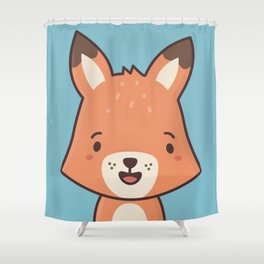 Kawaii Cute Red Fox Shower Curtain