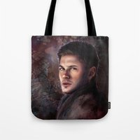 winchester Tote Bags featuring Dean Winchester by Jackie Sullivan