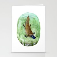 platypus Stationery Cards featuring Platypus by Kirsten Sevig