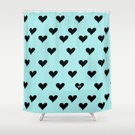 Retro Hearts Pattern Blue Shower Curtain