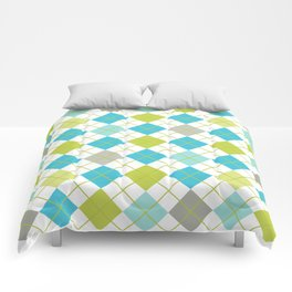Retro 1980s Argyle Geometric Pattern in Modern Bright Colors Blue Green and Gray Comforters