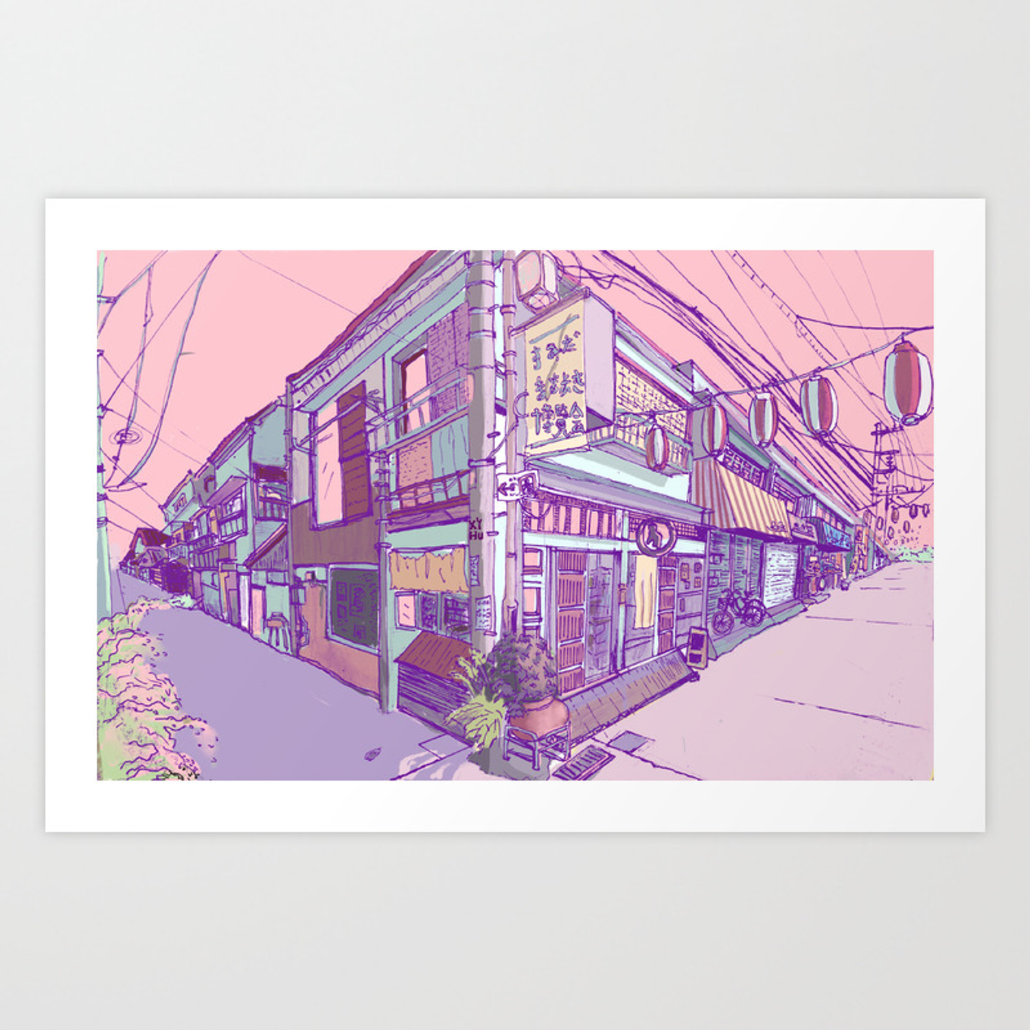 Japanese Houses Aesthetic Street Tokyo Japan Art Print By Xiaoyihu Society6