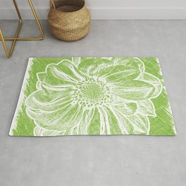 White Flower On Lime Green Crayon Rug