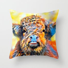 Highland Calf Throw Pillow