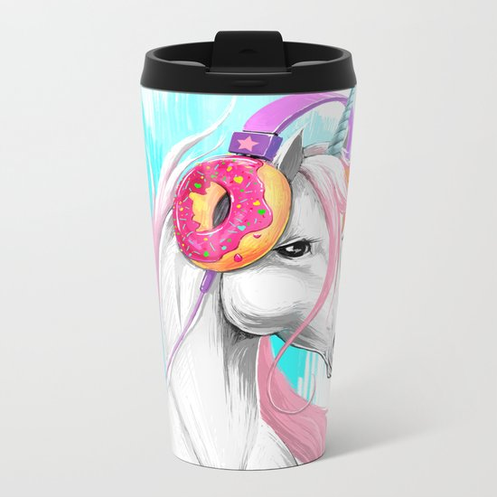 Unicorn in the headphones of donuts Metal Travel Mug