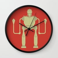 iron giant Wall Clocks featuring The Iron Giant  by Stefanoreves