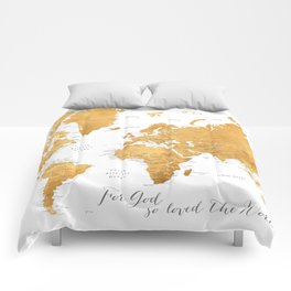 For God so loved the world, world map in gold Comforters