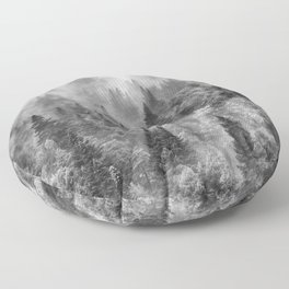 Pinsapos into the woods. BW. Foggy sunrise Floor Pillow