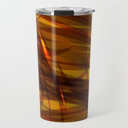 Saturated bronze and smooth sparkling lines of metal tapes on the theme of space and abstraction. Travel Mug