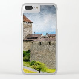 Vaduz Castle Digital Oil Painting Clear iPhone Case