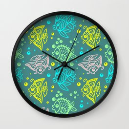 Fishes Batik Style Seamless Pattern Wall Clock
