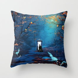Tardis Lost In The Forest Throw Pillow