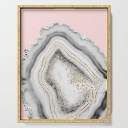 White Agate Gold Foil Glam #2 #gem #decor #art #society6 Serving Tray