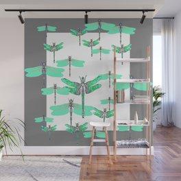 WHITE FLIGHT OF GREEN DRAGONFLIES GREY DESIGN Wall Mural