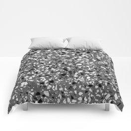 Dark Grey Monochrome Speckles Terrazzo Pattern Stone Effect Comforters