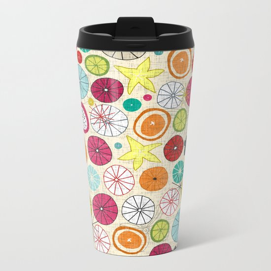 umbrellas ivory Metal Travel Mug