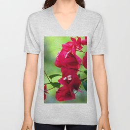 Ruby Blooms Unisex V-Neck