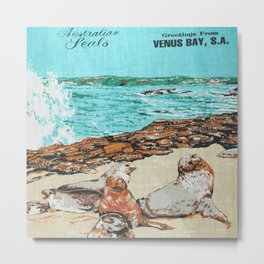 Vintage Venus Bay Tea Towel Metal Print