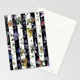Vibrant Exotic Floral on Black and White Stripes Stationery Cards