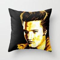elvis presley Throw Pillows featuring Elvis Presley by GittaG74