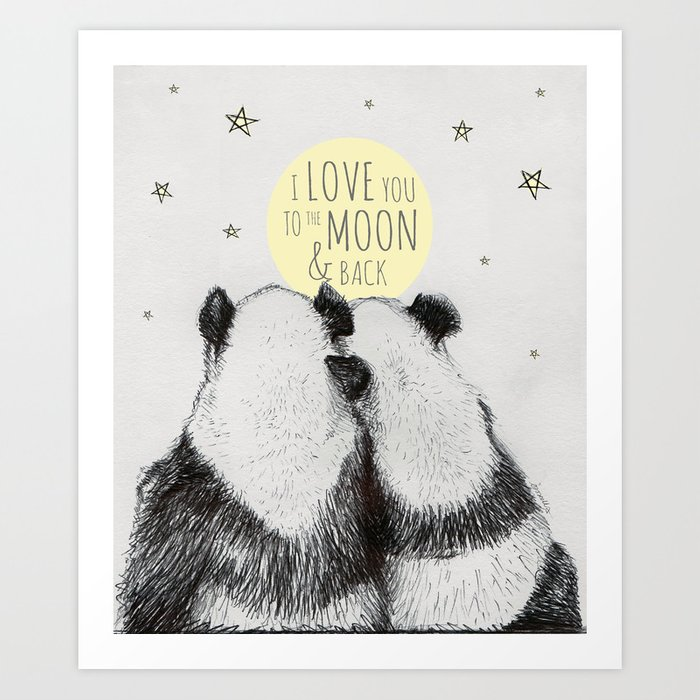 Pandas love to the moon & back Art Print
