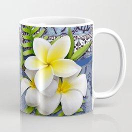 Blue Hawaiian Tapa and Plumeria Coffee Mug
