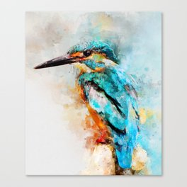 Watercolor kingfisher bird Canvas Print