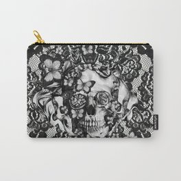 Rose skull on black lace base. Carry-All Pouch