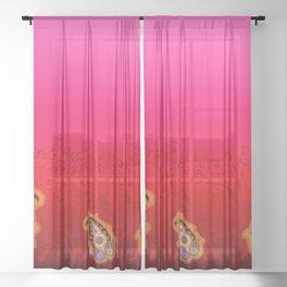 red jewel paisley border Sheer Curtain