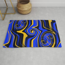 Regal Blues Abstract Rug
