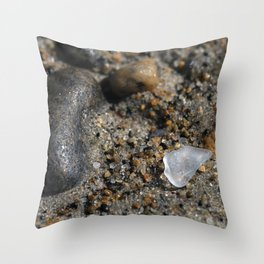 Beach Glass in the sand Throw Pillow