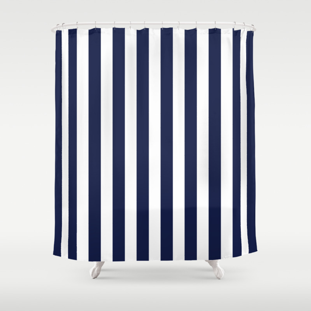 Navy and red shower curtain - Navy And White Rugby Stripe Shower Curtain Red Stripe Shower Curtain