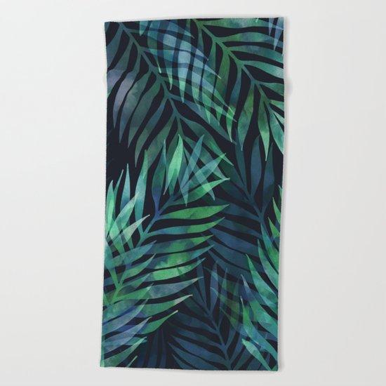 Dark green palms leaves pattern Beach Towel
