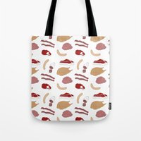 vegetarian Tote Bags featuring I AM A VEGETARIAN by Anna Wanda Gogusey