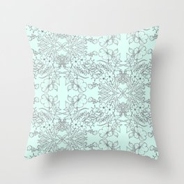 Dotted Floral Scroll in Mint and Grey Throw Pillow