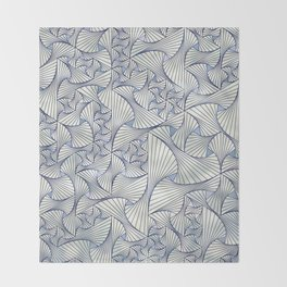 Reverie (in Ivory and Blue) Throw Blanket