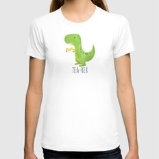 Tea-Rex Womens Fitted Tee White SMALL